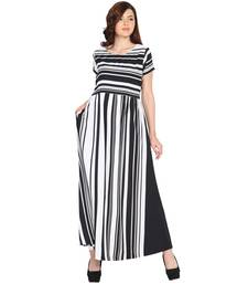 Mythya Black & White American Crepe Long Striped Dress for Women
