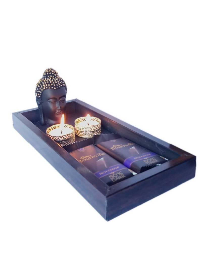 Diwali Chocolate Gift Hamper Wooden Dark Chocolate Tray Box With Buddha And Diya For Diwali Gift Maalpani 2759609