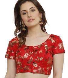 Dupion Silk With Digital Foil Print Red Princess Cut Readymade Saree Blouse