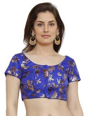 Dupion Silk With Digital Foil Print Blue Princess Cut Readymade Saree Blouse