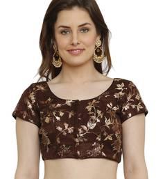Dupion Silk with digital foil print Brown Princess Cut Readymade Saree Blouse
