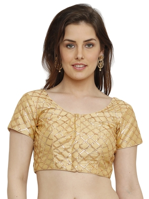 Banglori Silk with gotta patti checks Light Gold Princess Cut Readymade Saree Blouse