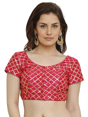 Banglori Silk With Gotta Patti Checks Pink Princess Cut Readymade Saree Blouse