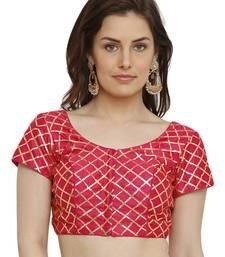 Banglori Silk with gotta patti checks Pink Princess Cut Readymade Saree Blouse
