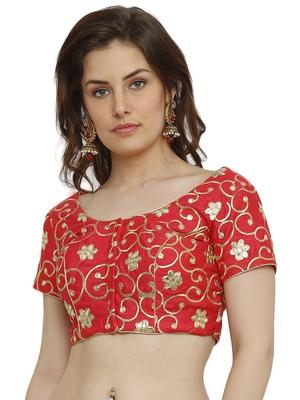 Banglori Silk with gotta embroidery Red Princess Cut Readymade Saree Blouse