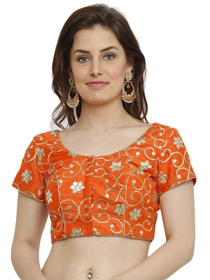 Banglori Silk With Gotta Embroidery Orange Princess Cut Readymade Saree Blouse
