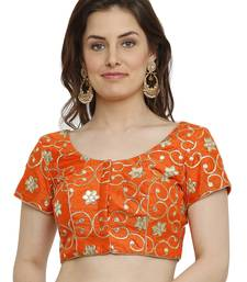 Banglori Silk with gotta embroidery Orange Princess Cut Readymade Saree Blouse
