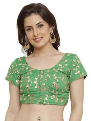 Banglori Silk with gotta embroidery Green Princess Cut Readymade Saree Blouse