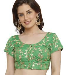 Banglori Silk with gotta embroidery Green Princess Cut Readymade Saree Blouse