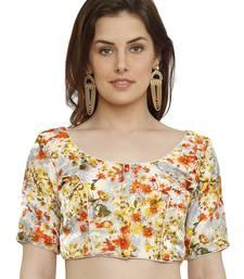 Banglori Silk White & Orange Princess Cut Readymade Saree Blouse