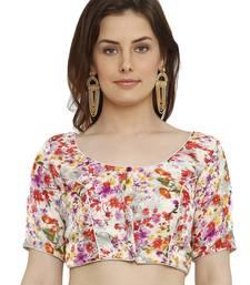 Banglori Silk White & Red Princess Cut Readymade Saree Blouse