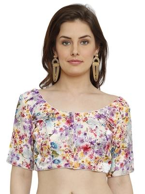 Banglori Silk White & Purple Princess Cut Readymade Saree Blouse