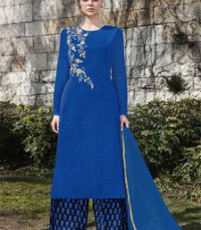 Buy Royal-blue embroidered georgette salwar with dupatta palazzo online