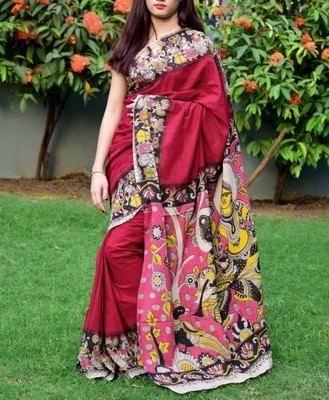 Maroon printed cotton saree with blouse