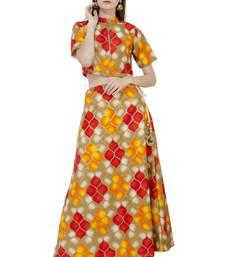 Buy Multicolor printed silk stitched lehenga casual-lehenga online