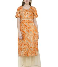 Orange printed silk silk-kurtis