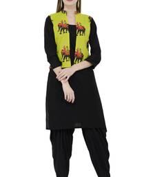 Black printed cotton short-kurtis