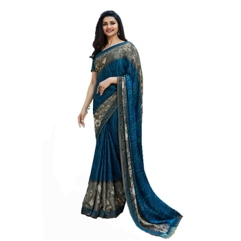 turquoise printed georgette saree with blouse