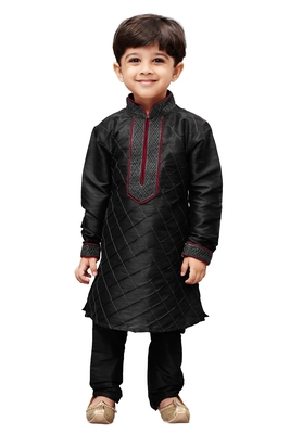 Black Embroidered Cotton Silk Boys Kurta Pyjama