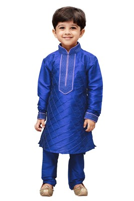 Blue Solid Cotton Silk Boys Kurta Pyjama