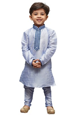 Blue Solid Cotton Silk Boys Kurta Pyjama