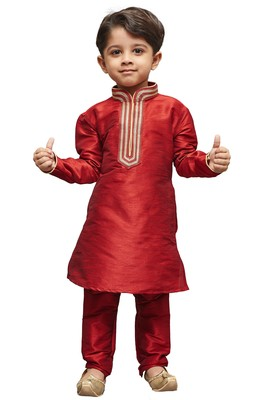 Maroon embroidered cotton silk boys kurta pyjama