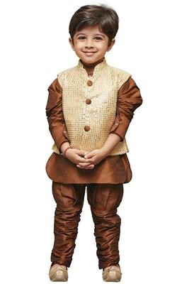 Brown Embroidered Cotton Silk Boys Kurta Pyjama