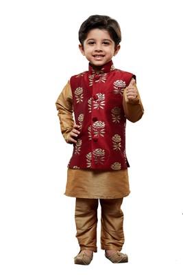 Gold Solid Cotton Silk Boys Kurta Pyjama