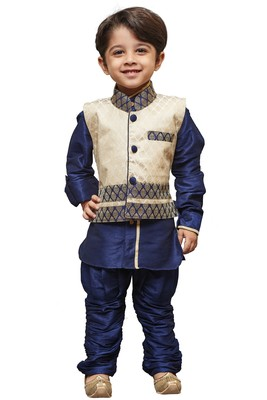 Blue Embroidered Cotton Silk Boys Kurta Pyjama