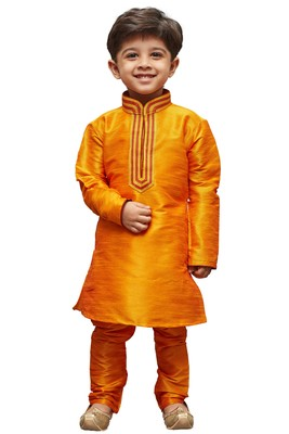 Orange Embroidered Cotton Silk Boys Kurta Pyjama