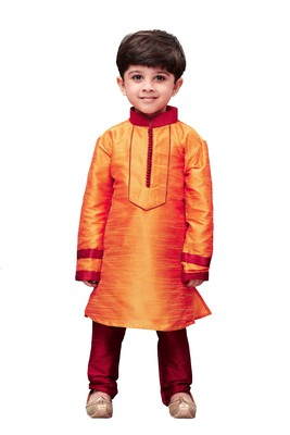 Orange Embroidered Cotton Silk Boys Kurta Pyjama
