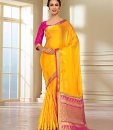 Gold Woven Crepe Saree With Blouse