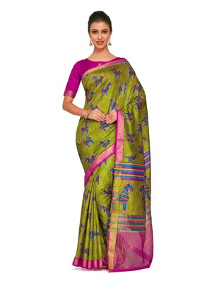 Green printed raw silk saree with blouse