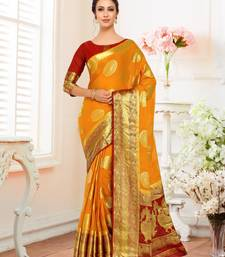 Gold Woven Chiffon Saree With Blouse