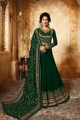 Green thread embroidery faux georgette Anarkali  Suit
