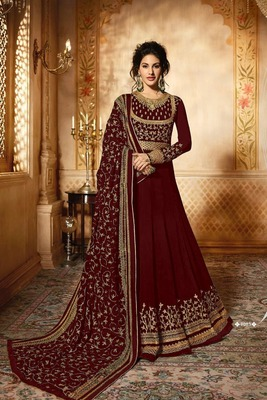 5696c1d89 Maroon thread embroidery faux georgette Anarkali Suit - maruti sai ...