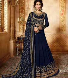 Blue thread embroidery faux georgette Anarkali SUit