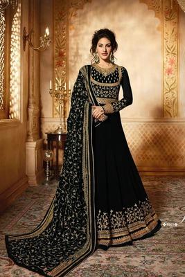 Black thread embroidery faux georgette Anarkali Suit