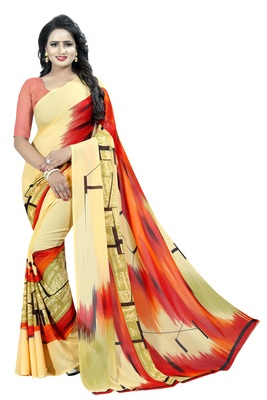 Rust printed georgette saree with blouse