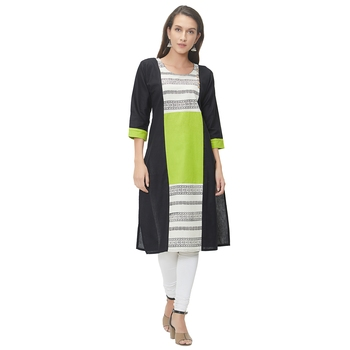 Black plain cotton ethnic-kurtis