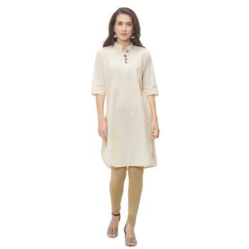 Beige plain cotton ethnic-kurtis