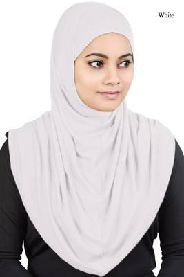 MyBatua white Two Piece Al-Amira Viscose Jersey Hijab