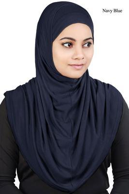 MyBatua Navy_Blue Two Piece Al-Amira Viscose Jersey Hijab
