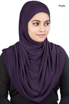 MyBatua Purple Two Piece Al-Amira Viscose Jersey Hijab