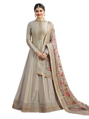 0f92ef0e11 Beige embroidered chanderi silk salwar with dupatta - maruti sai ...