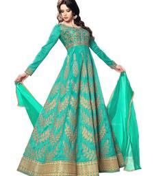 Green embroidered pure bhagalpuri silk salwar with dupatta