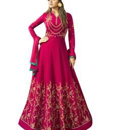Red embroidered pure bhagalpuri silk Anarkali SUit