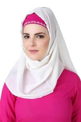 MyBatua Meher White Crepe Hijab