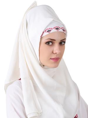 MyBatua Ezzah White Georgette And Crepe Hijab
