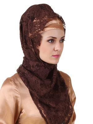 MyBatua Mahrosh Brown Flower Net Hijab